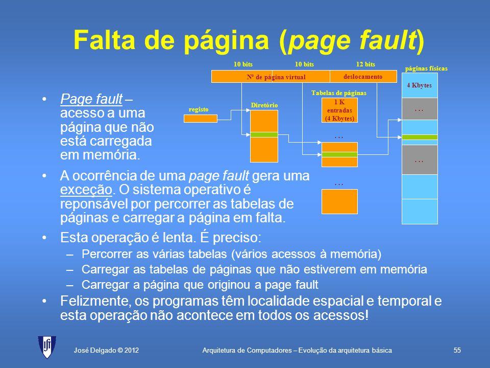 Arquitetura de Computadores – Evolução da arquitetura básica55José Delgado © 2012 Falta de página (page fault) Page fault – acesso a uma página que nã