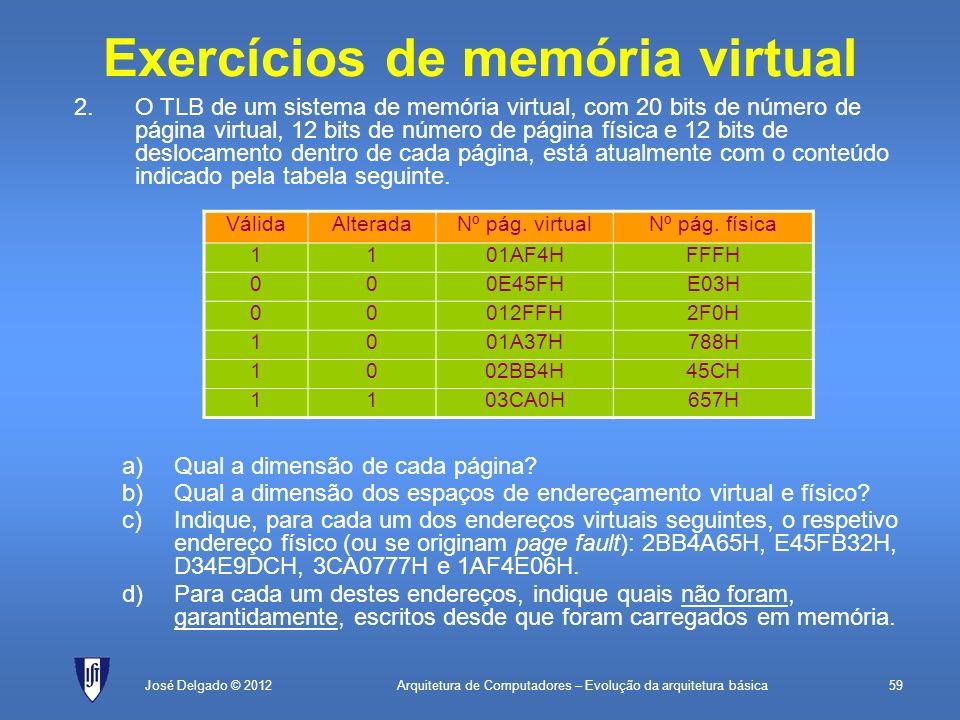 Arquitetura de Computadores – Evolução da arquitetura básica59José Delgado © 2012 Exercícios de memória virtual 2.O TLB de um sistema de memória virtu