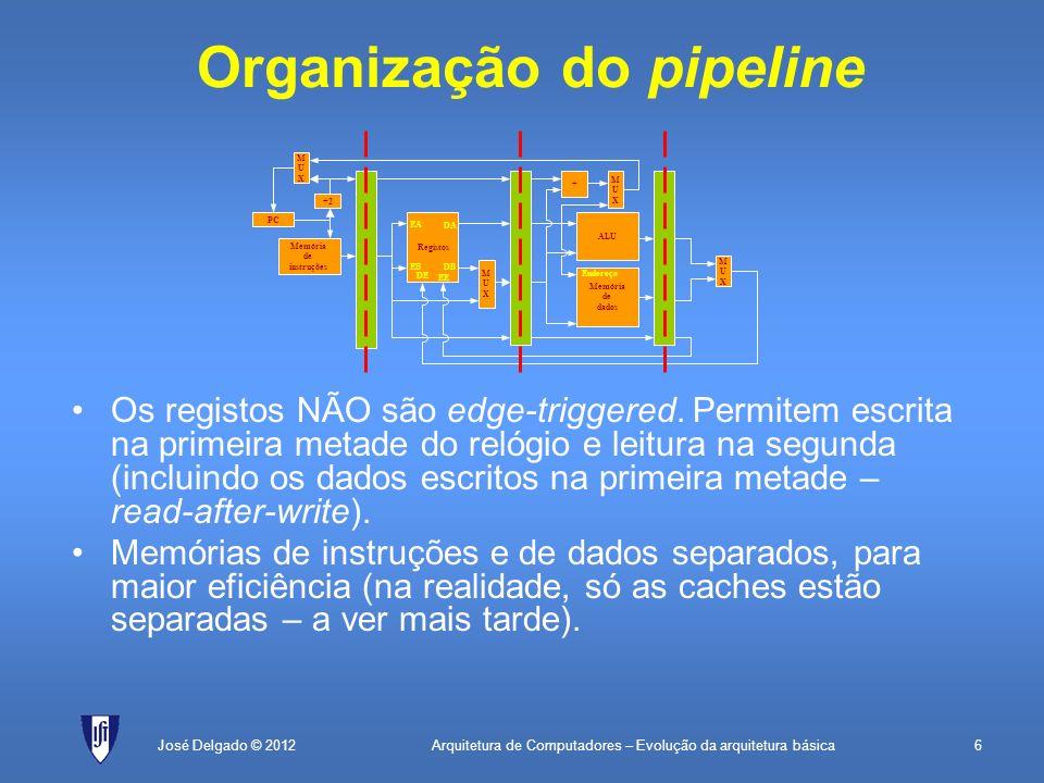 Arquitetura de Computadores – Evolução da arquitetura básica6José Delgado © 2012 Organização do pipeline Os registos NÃO são edge-triggered. Permitem
