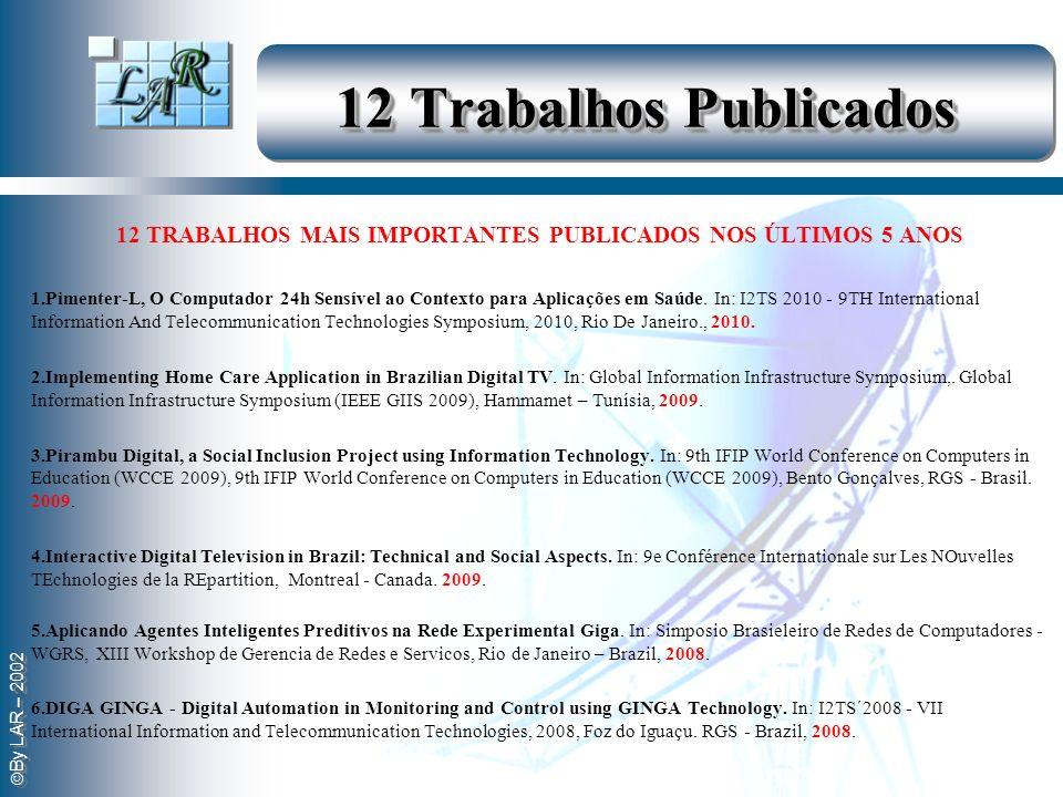By LAR – 2002 12 Trabalhos Publicados 12 TRABALHOS MAIS IMPORTANTES PUBLICADOS NOS ÚLTIMOS 5 ANOS 1.Pimenter-L, O Computador 24h Sensível ao Contexto