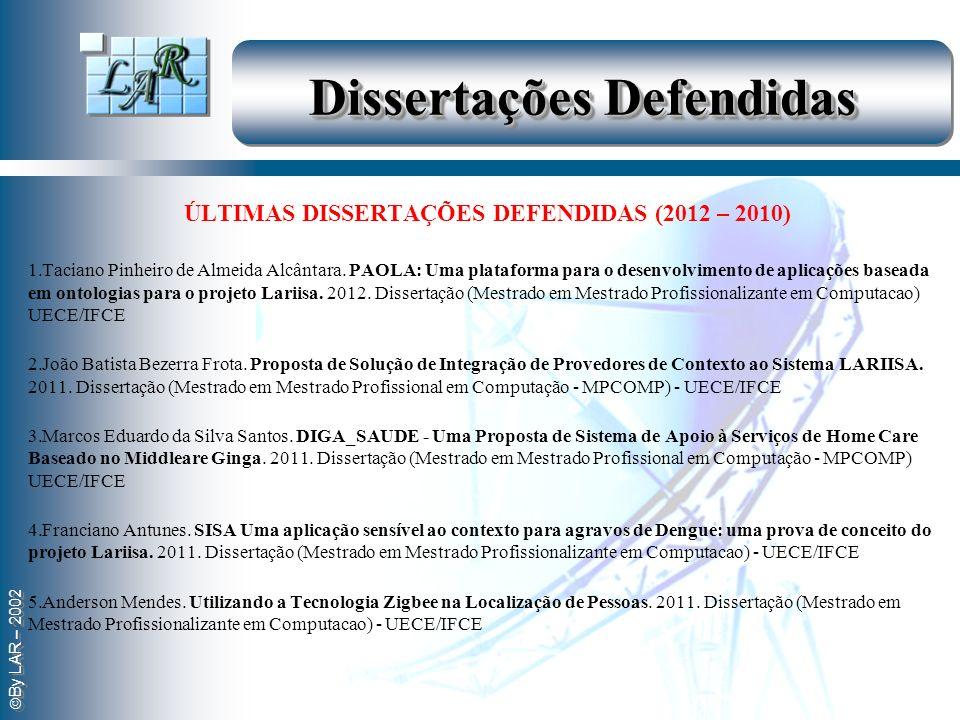 By LAR – 2002 Dissertações Defendidas ÚLTIMAS DISSERTAÇÕES DEFENDIDAS (2012 – 2010) 1.Taciano Pinheiro de Almeida Alcântara. PAOLA: Uma plataforma par