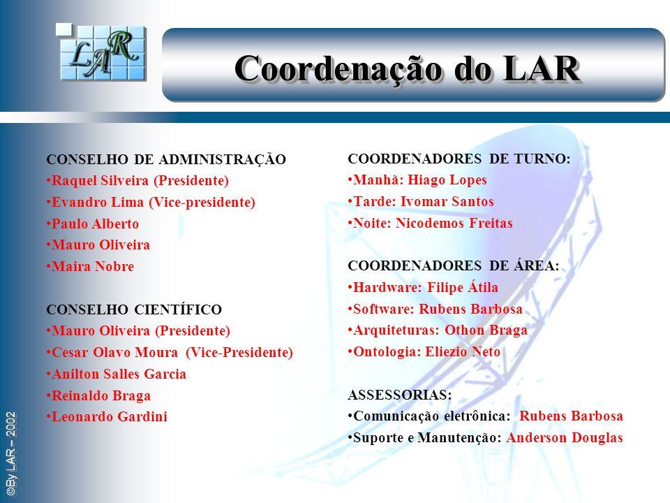 By LAR – 2002 Coordenação do LAR CONSELHO DE ADMINISTRAÇÃO Raquel Silveira (Presidente) Evandro Lima (Vice-presidente) Paulo Alberto Mauro Oliveira Ma