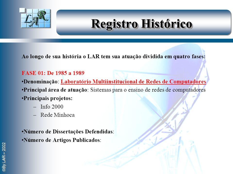 By LAR – 2002 Registro Histórico Ao longo de sua história o LAR tem sua atuação dividida em quatro fases: FASE 01: De 1985 a 1989 Denominação: Laborat