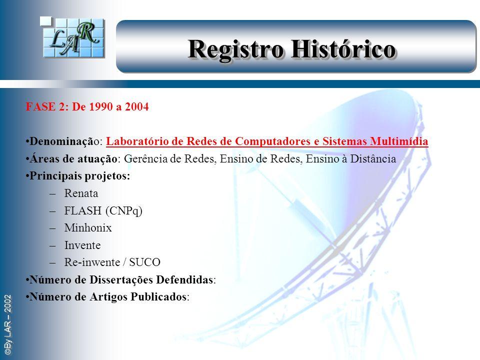 By LAR – 2002 Registro Histórico FASE 2: De 1990 a 2004 Denominação: Laboratório de Redes de Computadores e Sistemas Multimídia Áreas de atuação: Gerê
