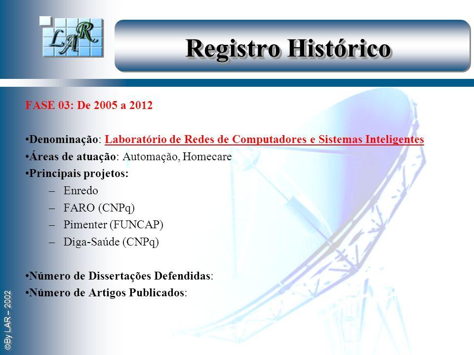 By LAR – 2002 Registro Histórico FASE 03: De 2005 a 2012 Denominação: Laboratório de Redes de Computadores e Sistemas Inteligentes Áreas de atuação: A