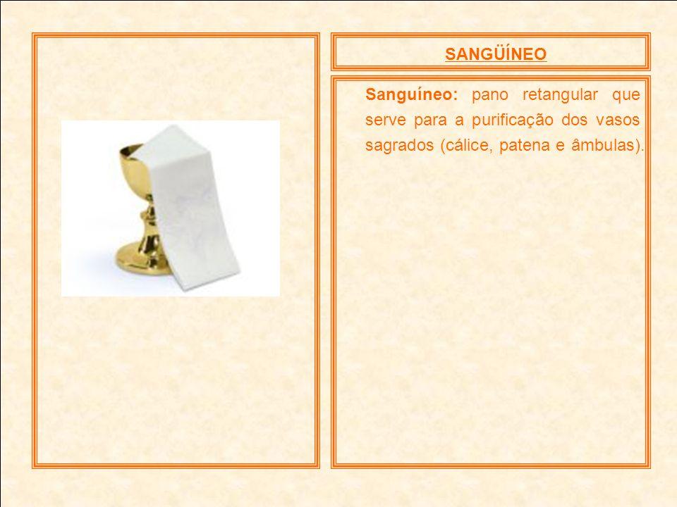 SANGÜÍNEO Sanguíneo: pano retangular que serve para a purificação dos vasos sagrados (cálice, patena e âmbulas).
