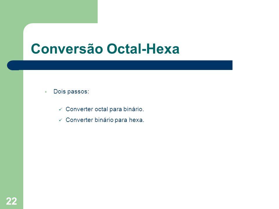 22 Conversão Octal-Hexa Dois passos: Converter octal para binário. Converter binário para hexa.