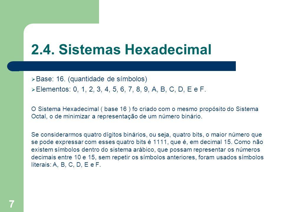 18 Conversão Hexa-Binário Agrupamento de 4 bits. Usar a tabela (Tabela).