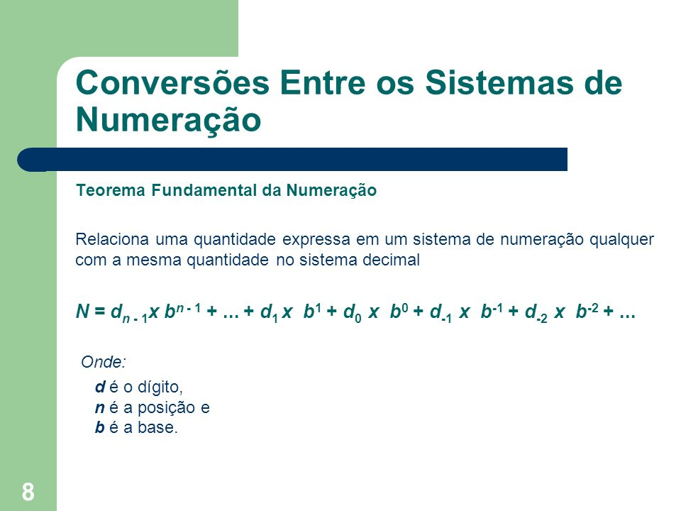 9 Exemplos 128 (base10) = 1 x 10 2 + 2 x 10 1 + 8 x 10 0 54347 (base10) = 5 x 10 4 + 4 x 10 3 + 3 x 10 2 + 4 x 10 1 + 7 x 10 0 100 (base2) = 1 x 2 2 + 0 x 2 1 +0 X 2 0 = 4 101 (base2) = 1 x 2 2 + 0 x 2 1 + 1 X 2 0 = 5 24 (base8) = 2 x 8 1 + 4 x 8 0 = 16 + 4 = 20 16 (base8) = 1 x 8 1 + 6 x 8 0 = 8 + 6 = 14