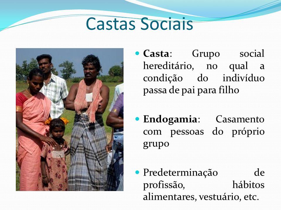 Castas Sociais Casta: Grupo social hereditário, no qual a condição do indivíduo passa de pai para filho Endogamia: Casamento com pessoas do próprio gr