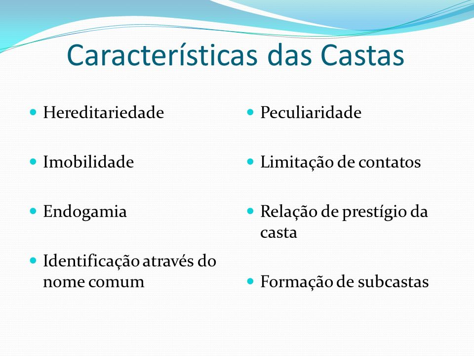 Características das Castas Hereditariedade Imobilidade Endogamia Identificação através do nome comum Peculiaridade Limitação de contatos Relação de pr