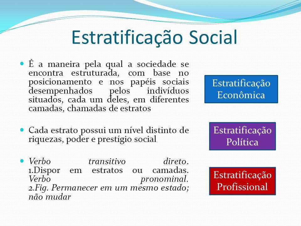 Estratificação Social É a maneira pela qual a sociedade se encontra estruturada, com base no posicionamento e nos papéis sociais desempenhados pelos i