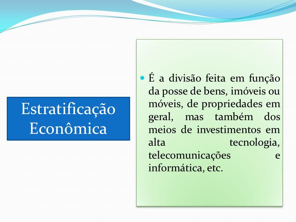 É a divisão feita em função da posse de bens, imóveis ou móveis, de propriedades em geral, mas também dos meios de investimentos em alta tecnologia, t