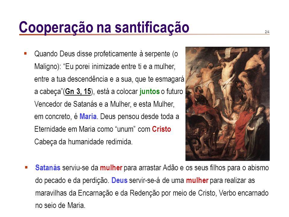 1/4 Cooperação na santificação Arnaldo de Chartres (s. XII) : Uma foi a vontade de Cristo e de Maria; ambos ofere- ciam a Deus um mesmo holocausto: Ma
