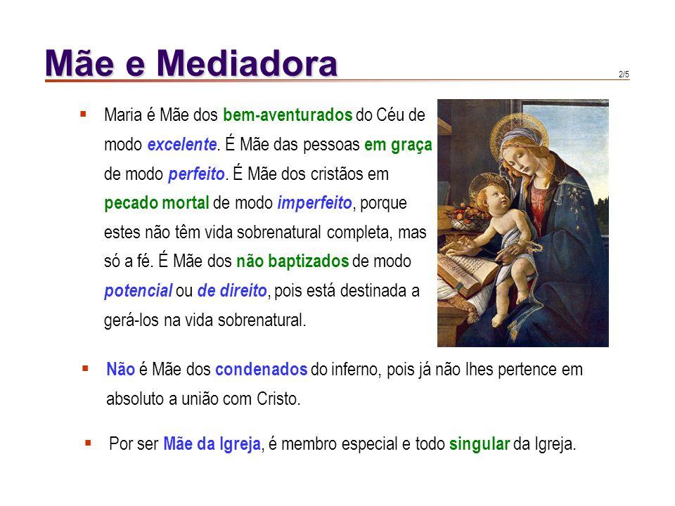 1/5 Mãe e Mediadora Maria, quando levava em seu ventre o Salvador, levava também todos aqueles cuja vida estava contida na vida do Senhor. Todos quant