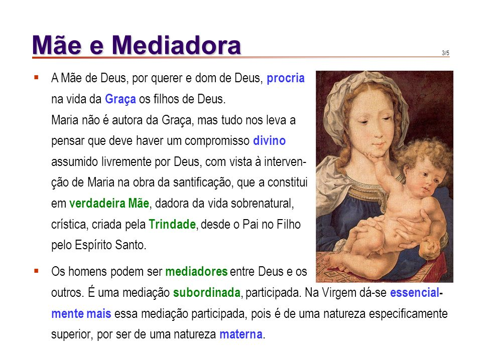 2/5 Mãe e Mediadora Maria é Mãe dos bem-aventurados do Céu de modo excelente. É Mãe das pessoas em graça de modo perfeito. É Mãe dos cristãos em pecad