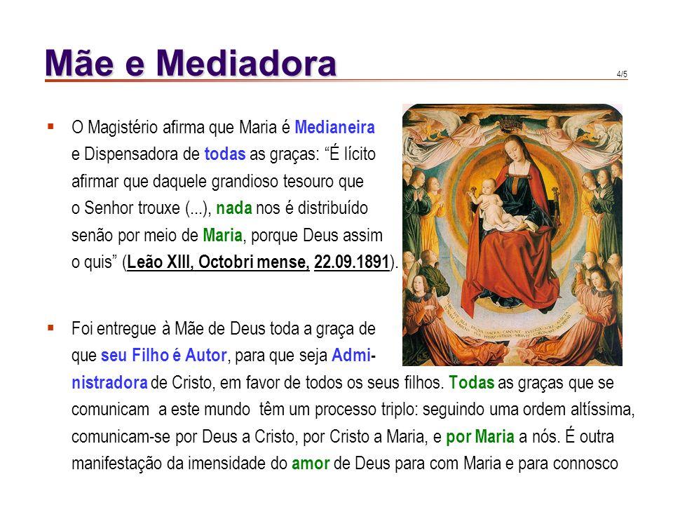 3/5 Mãe e Mediadora Os homens podem ser mediadores entre Deus e os outros. É uma mediação subordinada, participada. Na Virgem dá-se essencial- mente m