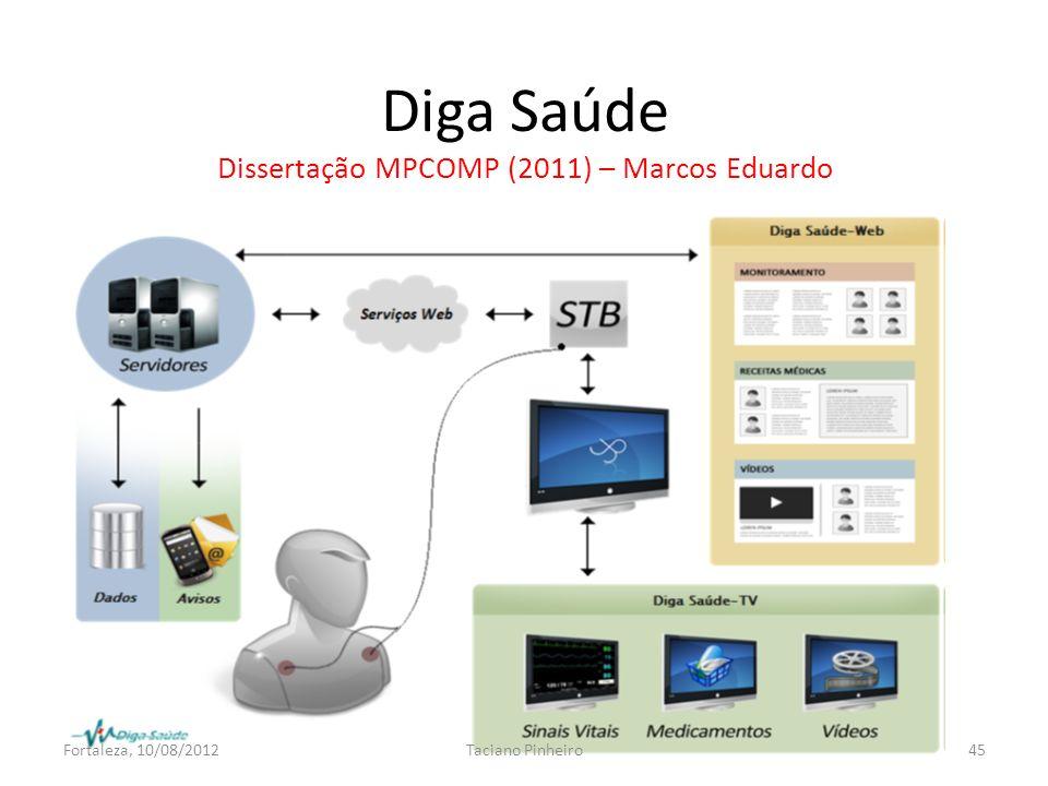 Diga Saúde Dissertação MPCOMP (2011) – Marcos Eduardo Fortaleza, 10/08/2012Taciano Pinheiro45
