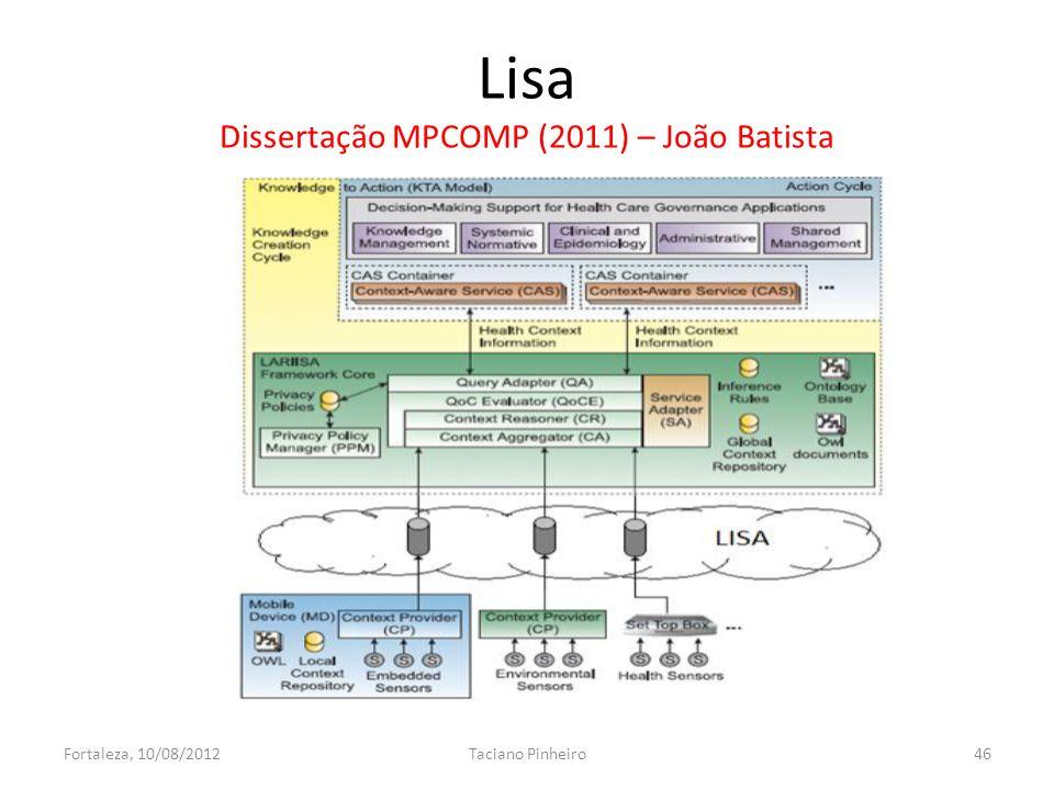 Lisa Dissertação MPCOMP (2011) – João Batista Fortaleza, 10/08/2012Taciano Pinheiro46