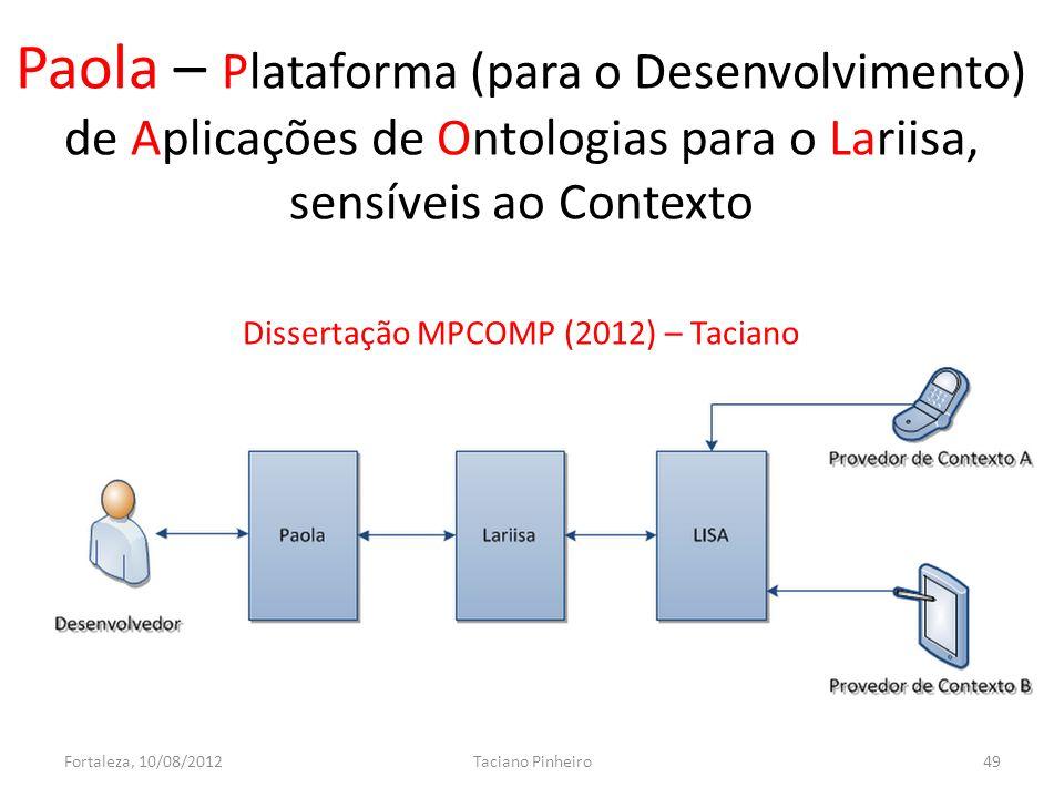 Paola – Plataforma (para o Desenvolvimento) de Aplicações de Ontologias para o Lariisa, sensíveis ao Contexto Dissertação MPCOMP (2012) – Taciano Fortaleza, 10/08/2012Taciano Pinheiro49