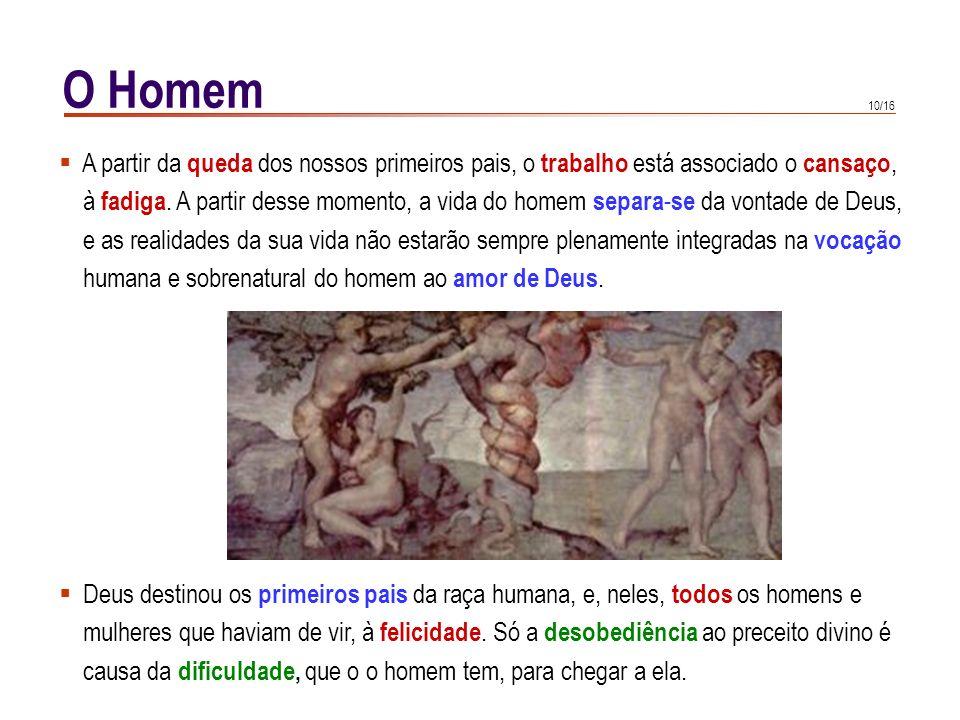 9/16 O Homem CIC 378 CIC 378 : Sinal da familiaridade com Deus é o facto de Deus o colocar (ao homem) no jardim. (...) O trabalho não é um castigo, ma