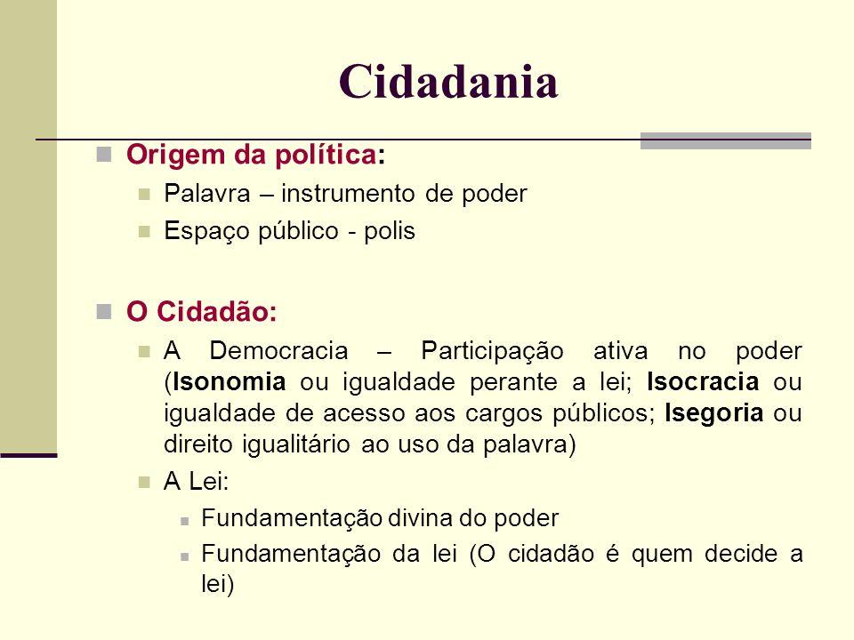 Cidadania Origem da política: Palavra – instrumento de poder Espaço público - polis O Cidadão: A Democracia – Participação ativa no poder (Isonomia ou