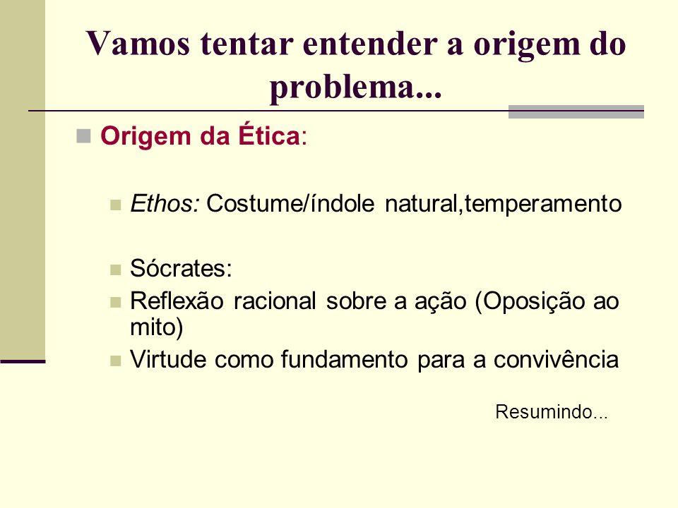 Vamos tentar entender a origem do problema... Origem da Ética: Ethos: Costume/índole natural,temperamento Sócrates: Reflexão racional sobre a ação (Op