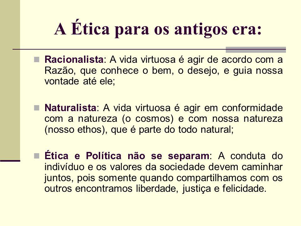 A Ética para os antigos era: Racionalista: A vida virtuosa é agir de acordo com a Razão, que conhece o bem, o desejo, e guia nossa vontade até ele; Na