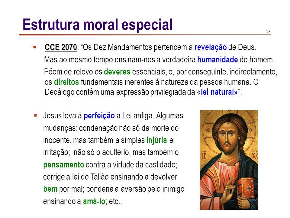 3/6 Estrutura moral especial CCE 2070 CCE 2070 : Os Dez Mandamentos pertencem à revelação de Deus.