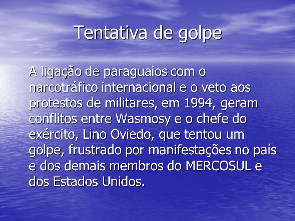 Tentativa de golpe A ligação de paraguaios com o narcotráfico internacional e o veto aos protestos de militares, em 1994, geram conflitos entre Wasmos