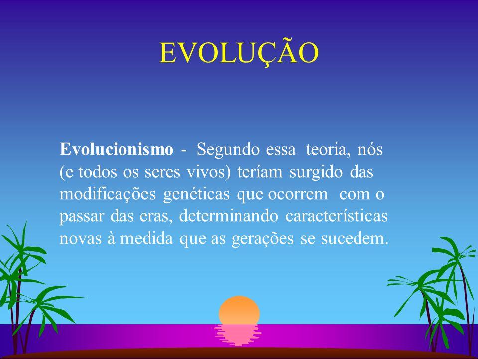 EVOLUÇÃO Evolucionismo - Segundo essa teoria, nós (e todos os seres vivos) teríam surgido das modificações genéticas que ocorrem com o passar das eras
