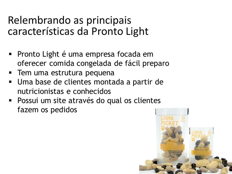 Relembrando as principais características da Pronto Light Pronto Light é uma empresa focada em oferecer comida congelada de fácil preparo Tem uma estr