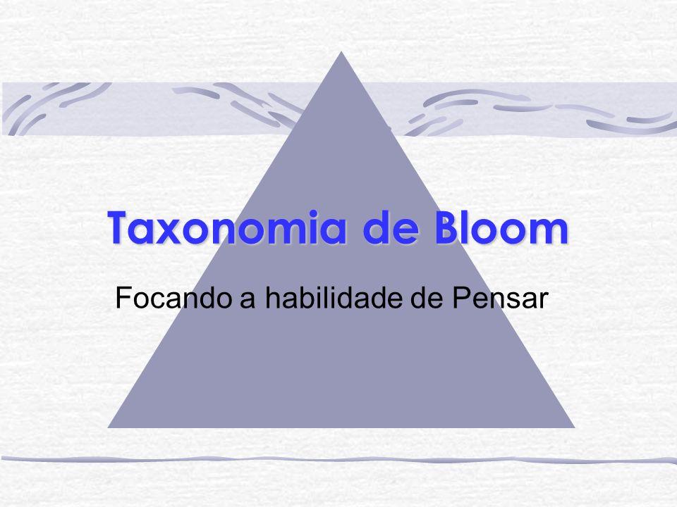 Background Em 1956, Benjamin Bloom, um professor da Universidade de, apresentou seu famoso trabalho: Taxonomia de Objetivos Educacionais .