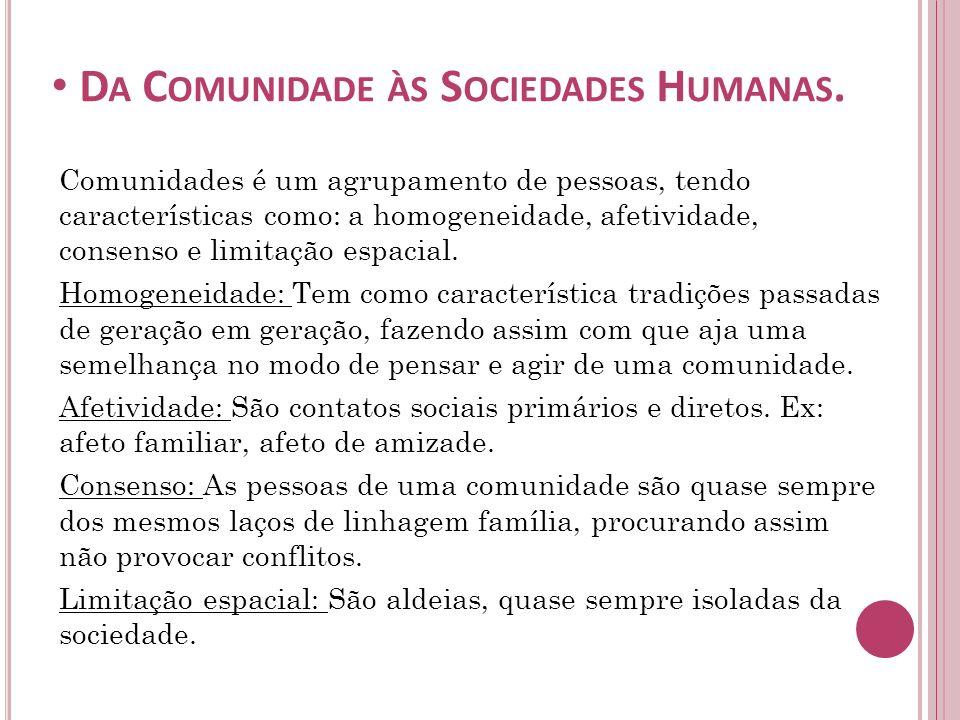 A DESCARACTERIZAÇÃO DAS COMUNIDADES.