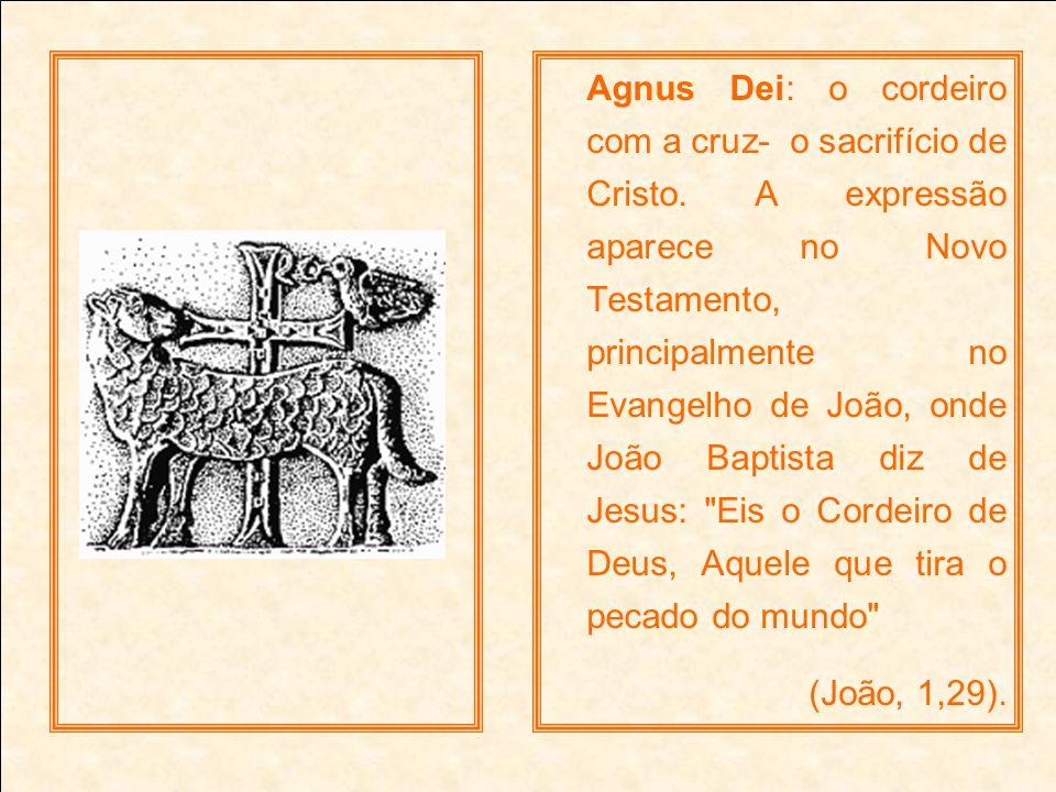 Agnus Dei: o cordeiro com a cruz- o sacrifício de Cristo. A expressão aparece no Novo Testamento, principalmente no Evangelho de João, onde João Bapti