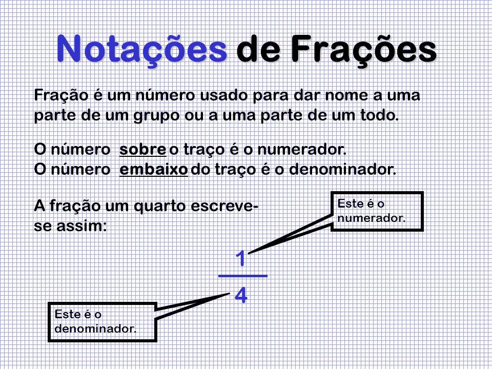 Notações de Frações 1 Este é o numerador. Este é o denominador. 4 Fração é um número usado para dar nome a uma parte de um grupo ou a uma parte de um