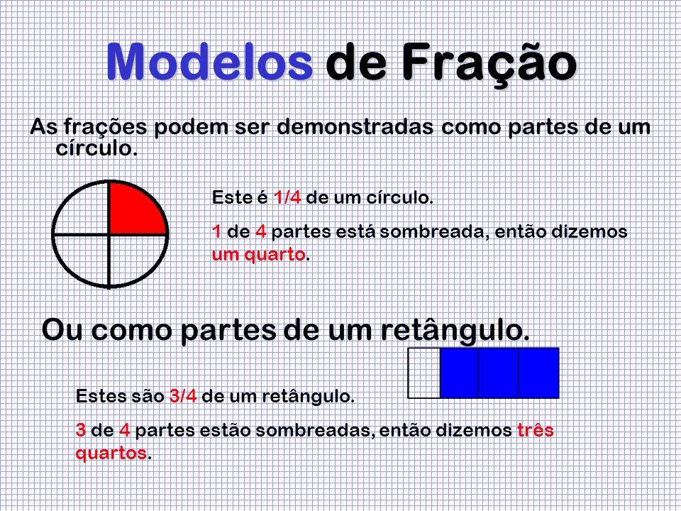 Modelos de Fração As frações podem ser demonstradas como partes de um círculo. Este é 1/4 de um círculo. 1 de 4 partes está sombreada, então dizemos u