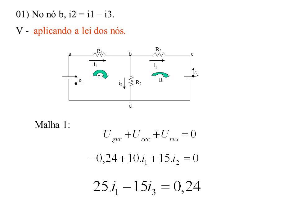 01) No nó b, i2 = i1 – i3. V - aplicando a lei dos nós. Malha 1: i1i1 R1R1 R2R2 R3R3 ε1ε1 ε2ε2 i3i3 i2i2 abc d I II