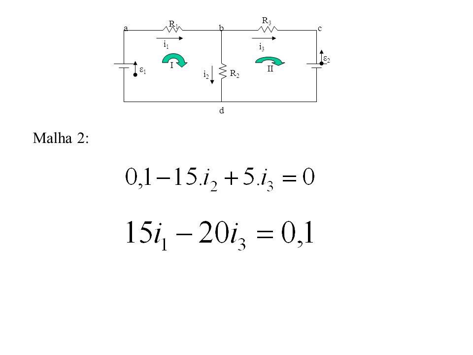 Malha 2: i1i1 R1R1 R2R2 R3R3 ε1ε1 ε2ε2 i3i3 i2i2 abc d I II