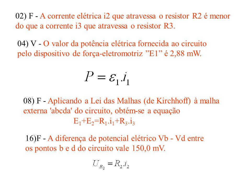 02) F - A corrente elétrica i2 que atravessa o resistor R2 é menor do que a corrente i3 que atravessa o resistor R3. 04) V - O valor da potência elétr