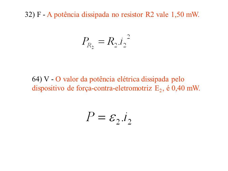32) F - A potência dissipada no resistor R2 vale 1,50 mW. 64) V - O valor da potência elétrica dissipada pelo dispositivo de força-contra-eletromotriz