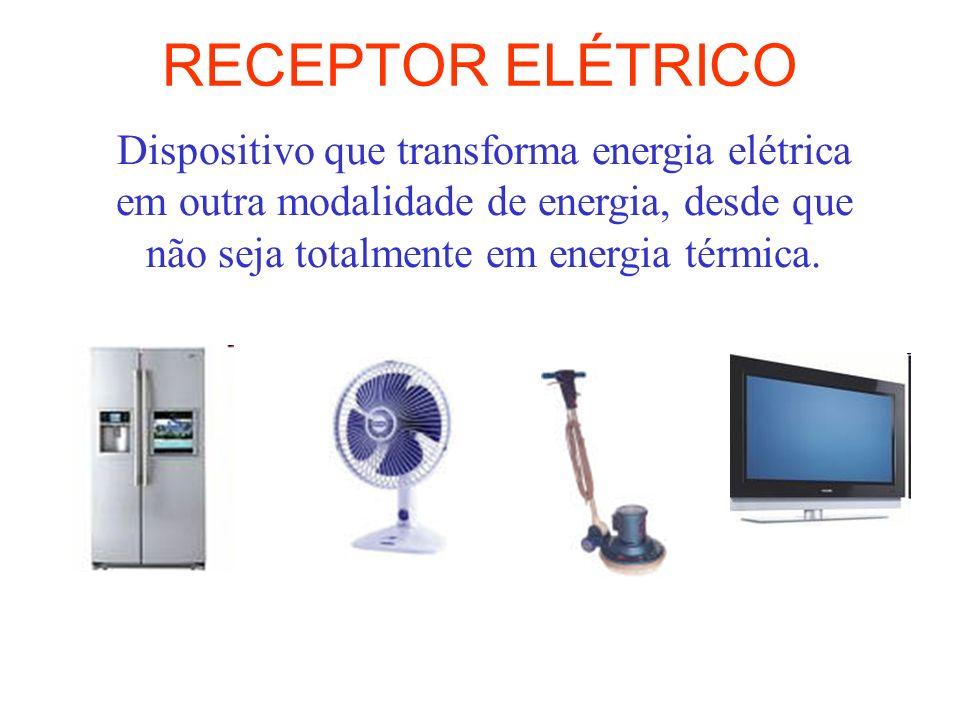 RECEPTOR ELÉTRICO Dispositivo que transforma energia elétrica em outra modalidade de energia, desde que não seja totalmente em energia térmica.