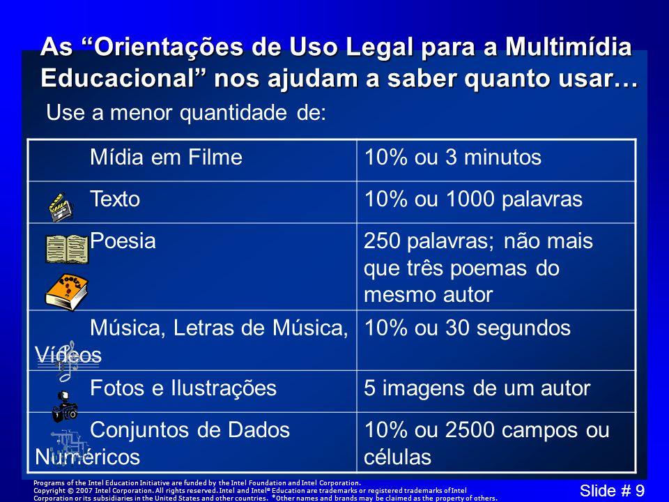 Slide # 9 As Orientações de Uso Legal para a Multimídia Educacional nos ajudam a saber quanto usar… Mídia em Filme10% ou 3 minutos Texto10% ou 1000 pa