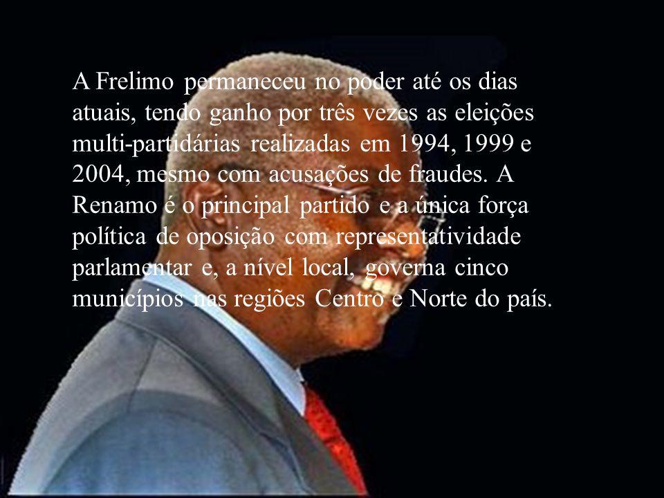 A Frelimo permaneceu no poder até os dias atuais, tendo ganho por três vezes as eleições multi-partidárias realizadas em 1994, 1999 e 2004, mesmo com