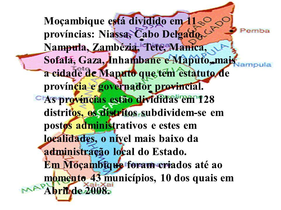 Moçambique está dividido em 11 províncias: Niassa, Cabo Delgado, Nampula, Zambézia, Tete, Manica, Sofala, Gaza, Inhambane e Maputo, mais a cidade de M