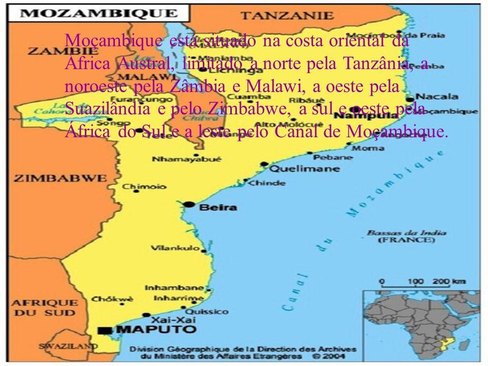 Moçambique está situado na costa oriental da África Austral, limitado a norte pela Tanzânia, a noroeste pela Zâmbia e Malawi, a oeste pela Suazilândia