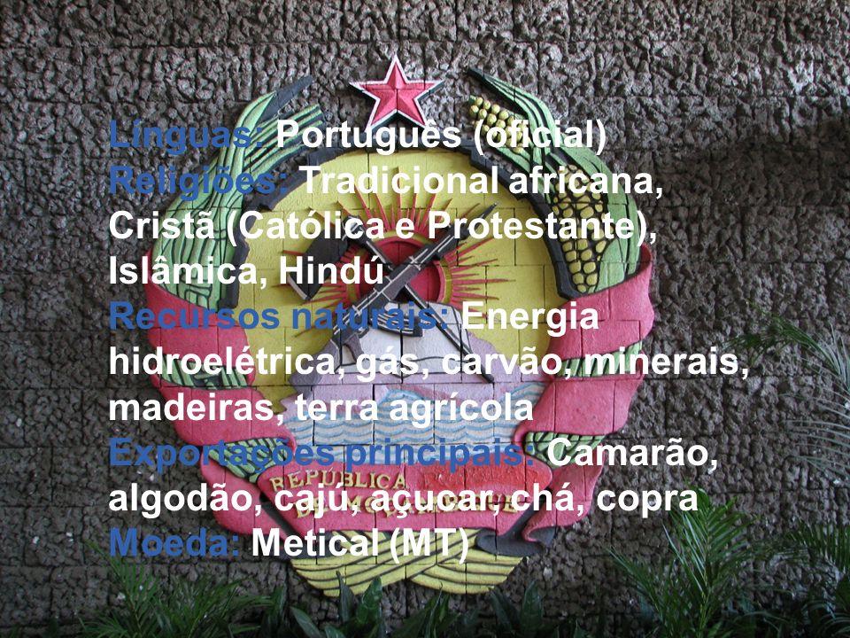 Línguas: Português (oficial) Religiões: Tradicional africana, Cristã (Católica e Protestante), Islâmica, Hindú Recursos naturais: Energia hidroelétric