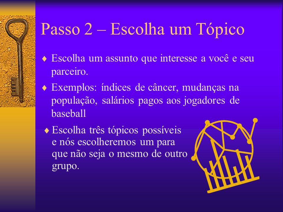 Passo 2 – Escolha um Tópico Escolha um assunto que interesse a você e seu parceiro.