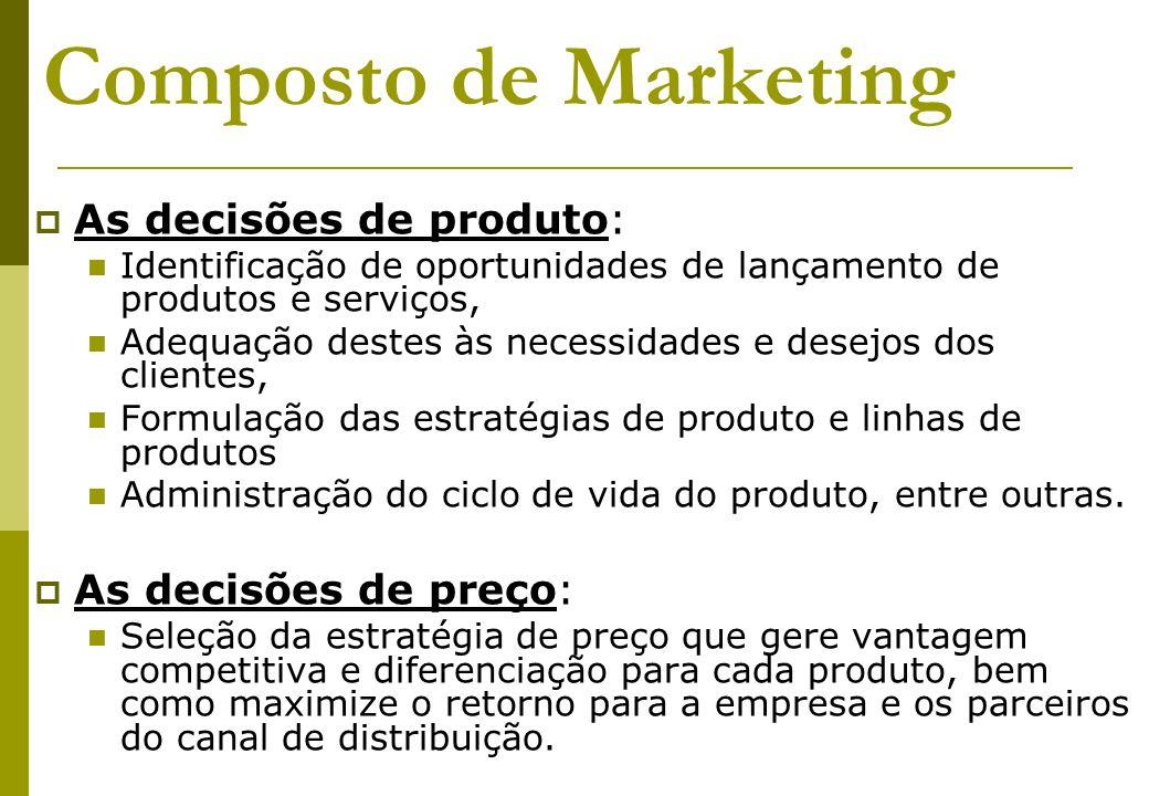 Composto de Marketing As decisões de produto: Identificação de oportunidades de lançamento de produtos e serviços, Adequação destes às necessidades e