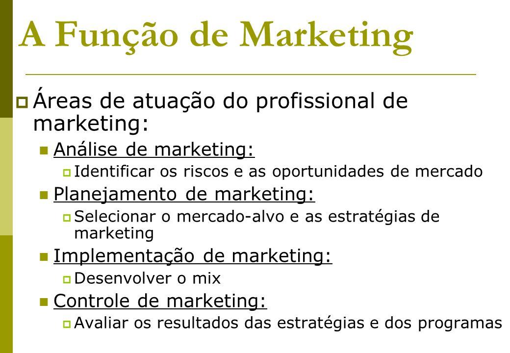 A Função de Marketing Áreas de atuação do profissional de marketing: Análise de marketing: Identificar os riscos e as oportunidades de mercado Planeja